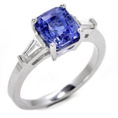 GIA 3.07ct Ceylon Sapphire Diamond Platinum Elegant Engagement Ring