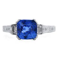 Tacori GIA 3.04 carat Cushion Ceylon Sapphire Diamond Platinum Engagement Ring