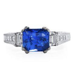 Tacori GIA 3.06 carat Ceylon Sapphire Diamond 18K Gold Engagement Ring