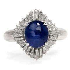 GIA 2.55 carat Natural Star Sapphire Diamond Platinum Ballerina Ring