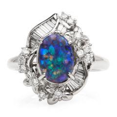 GIA Natural Black Opal Diamond Platinum Floral Cocktail Ring