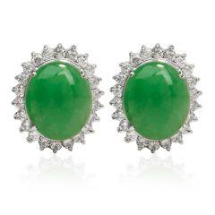 GIA 4.92 carat Natural Green Jade Diamond Platinum Halo Stud Earrings