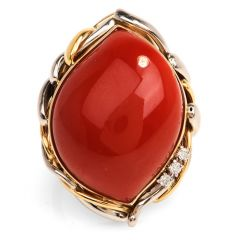 GIA Natural Red Coral Diamond Platinum 18K Gold Retro Cocktail Ring