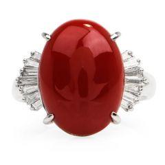 GIA 7.11ct Natural Deep Red Coral Diamond Platinum Cocktail Ring