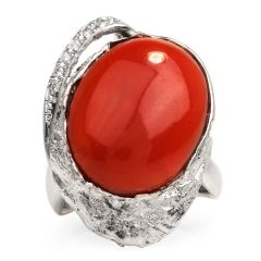 GIA 14.25ct Natural Coral Diamond Platinum Bypass Cocktail Ring