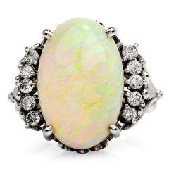 Estate Diamond White Opal Platinum Cocktail Ring
