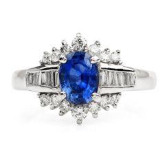 Estate 1.06ct Blue Sapphire Diamond Platinum Floral Ring