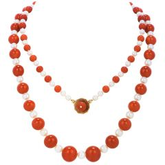 GIA Natural No Dye Coral Pearl 14K Gold Graduated Long Beaded Necklace