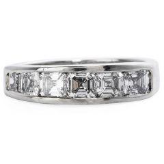 GIA Certified Asscher cut Diamond Platinum Wedding Band Ring