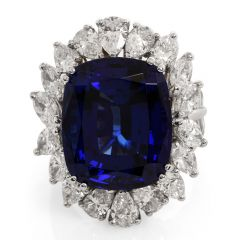 GIA 21.66 carat Tanzanite Diamond Platinum Flower Halo Cocktail Ring