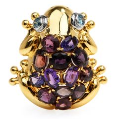 Estate GIA Natural Sapphires Topaz 18k Platinum Frog Brooch Pin Pendant