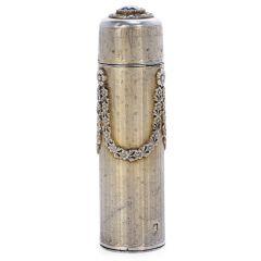Antique 1800s GIA Blue Sapphire Diamond Fine Silver Collectible Perfume Bottle