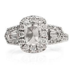 Henri Daussi Cushion Cut Diamond 18K White Gold Engagement Ring