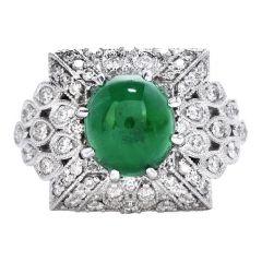 GIA Diamond Emerald Platinum Milgrain Cluster Cocktail Ring