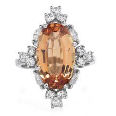 GIA Diamond Imperial Topaz 18K Gold Oval Cocktail Ring