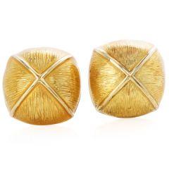 David Webb Enamel 18K Yellow Gold Dome Clip On Earrings