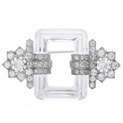 Antique Art deco Diamond Rock Crystal Platinum Large Brooch Pin