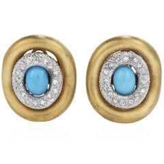 Estate Diamond 4.90ct Turquoise 18K Gold Elegant Large Earrings