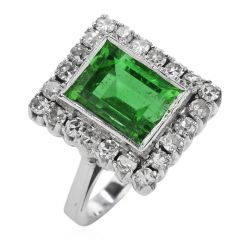 Vintage GIA No Oil Colombian Emerald Diamond 18K Gold Cocktail Ring