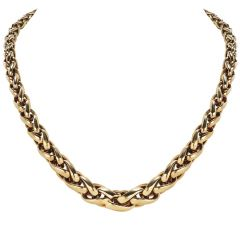 Retro Solid 18K Yellow Gold Foxtail Graduated Woven Link Necklace