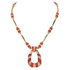 Italian Retro Coral Diamond 18K Gold Twist Bar Link Pendant Necklace