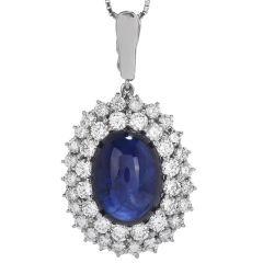 GIA Cabochon Large Blue Sapphire Diamond Platinum Pendant
