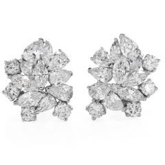 9.00cts Marquise Round Pear Cluster Diamond Gold Clip Back Earrings