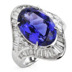 Vintage GIA Certified Oval Tanzanite Diamond Platinum Cocktail Ring