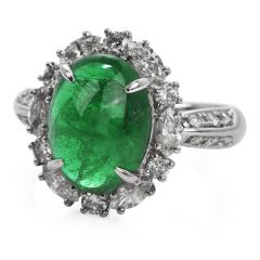 GIA Natural Emerald Diamond Platinum Oval Halo Cocktail Ring