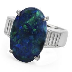 Excellent 7.53ct GIA Black Opal Diamond Platinum Oval Cocktail Ring