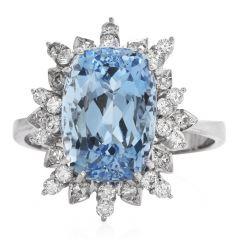 Vintage Aquamarine Diamond Platinum Cocktail Fashion Ring