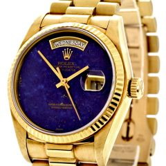 Rolex President Vintage Lapis Dial Gold Day Date Watch Ref 18038