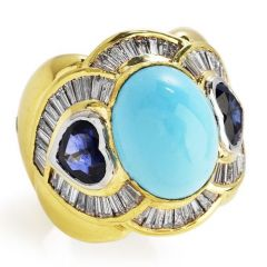 Estate 11.09cts Diamond Turquoise Heart Sapphire 18K Gold Cocktail Ring