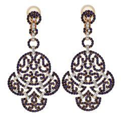 Estate Sapphire Diamond 18K Gold Elegant Dangle Drop Earrings