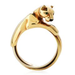 Cartier Panthere 18K Gold 3 Row Trinity Cocktail Ring