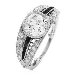 Antique Art Deco Old European-Cut Diamond Onyx Platinum Engagement Ring