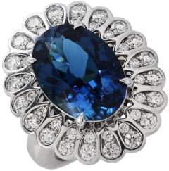 Tiffany & Co GIA 6.67cts Blue Tourmaline Platinum Designer Cocktail Ring