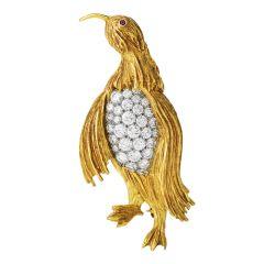 Vintage Diamond 18K Gold Platinum Penguin Pin Brooch