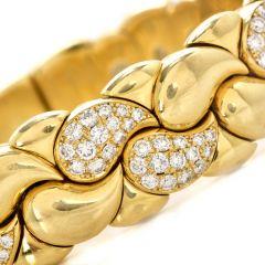 Chopard Casmir Diamond 18K Gold Braided Designer Cuff Bangle