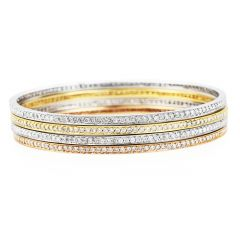 Estate Four Stackable 5.60cts Diamond Gold Eternity Bangle Bracelet
