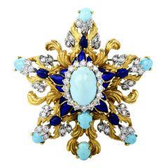 Vintage La Triomphe GIA Turquoise  Diamond Enamel 18k gold Pin