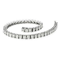 Estate 15.50cts Asscher Cut Diamond platinum Tennis Bracelet