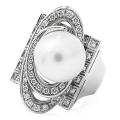 Modern South Sea pearl  Diamond Halo 18k White Gold Cocktail Ring