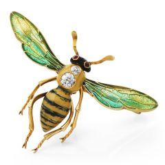 Vintage  plique de jour Bee  Enamel Diamond Brooch Pin