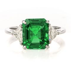 Estate 3.03CT Colombian Emerald Diamond Platinum Cocktail Ring