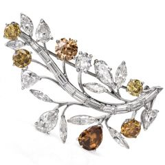 Estate 16.52ct GIA Natural Fancy Diamond Leaf Pin Brooch
