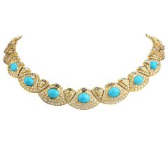 Estate Diamond Turquoise 18K Gold Graduated Link Choker Necklace