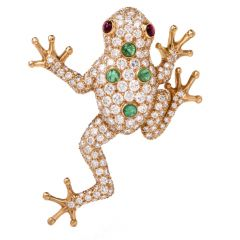 Oscar Heyman 7.27cts Diamond Frog Gold Pin Brooch
