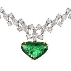 Vintage Riviera Diamond Emerald Heart Platinum Necklace
