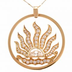 Estate Diamond Sunburst 18k Gold  Pendant 5.25cts